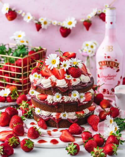 Eine Baileys-Torte dekoriert mit Gändeblümchen und Erdbeeren vor pinkem Hintergrund