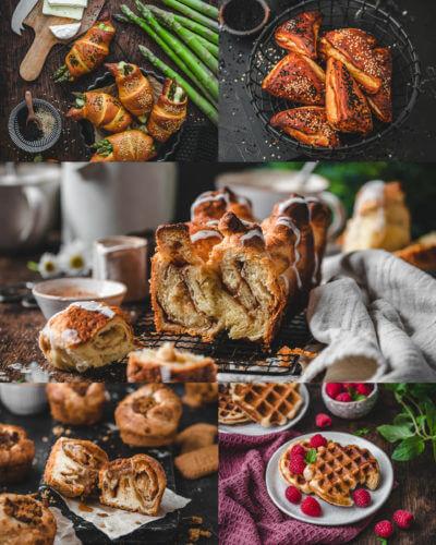 Eine Collage für 5 einfache Rezepte aus fertigem Croissant-Teig